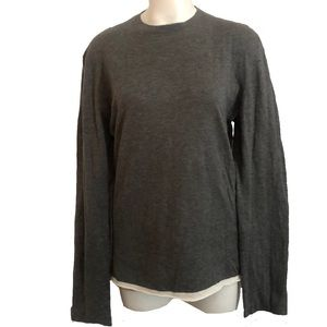 James Perse Women's Gray Tunic Top Ivory Lined
